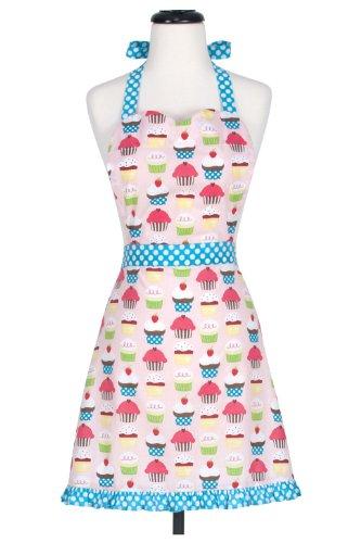 KAF Home Cupcake Adult's Hostess Extra Long Ties – Adjustable Bib Apron-Machine Wash-Used in Kitchen, Gardening