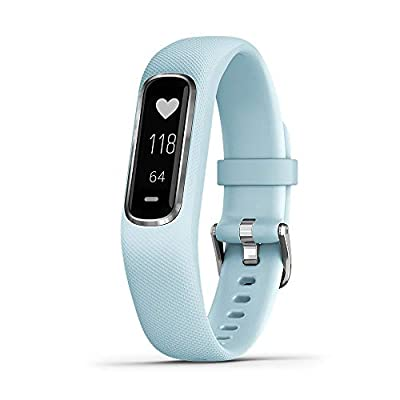 Garmin vívosmart 4, Activity and Fitness Tracker w/Pulse Ox and Heart Rate Monitor, Silver W/Azure Blue Band, 0.75 inches (010-01995-14)