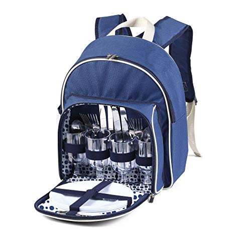Luxury 4 Person Picnic Backpack Hamper Rucksack, Cutlery Included and...