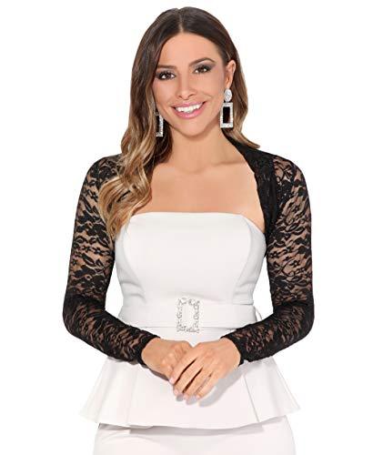 KRISP Coprispalle Maniche Lunghe Giacca Corta Ceremonia Matrimonio Bolero Abbigliamento Elegante Economico Pizzo, Nero, 46 EU (14 UK), 2726-BLK-14