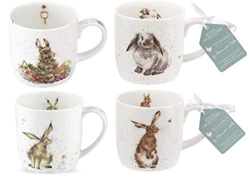 Royal Worcester Wrendale Designs Tassen-Kollektion Hasen und Kaninchen, 4 Stück