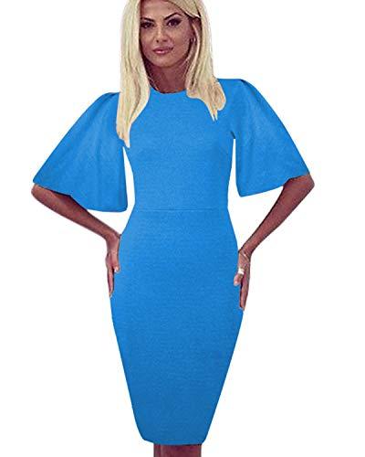 Zshujun Women's Vintage Scoop Neck Flare Sleeve Midi Work Sheath Party Cocktail Dress 1189 (Blue 1, S)