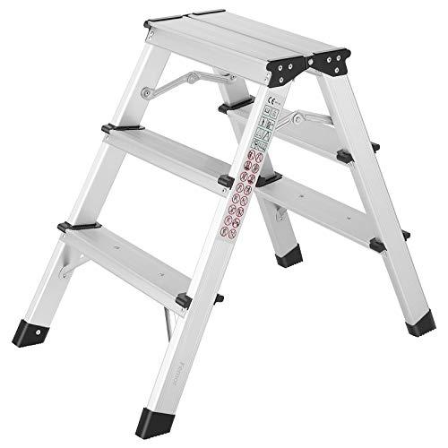 FIXKIT Escaleras Plegables Aluminio de 3 Peldaños, Escalera Plegable del Hogar, Escalera Plegable Portátil Aluminio, Carga Máxima 150 kg