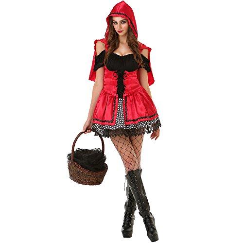 Unbekannt Sizzling Little Red Riding Hood Damen Halloween Kostüm Sexy Märchen - Rot - Medium