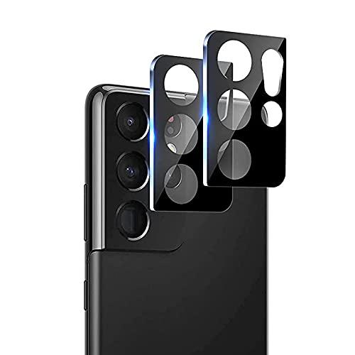 Galaxy S21 Ultra カメラフィルム (2枚) 強化ガラス SC-52B レンズガード アルミニウムカバー レンズ保護 Yiunssy 9H硬度 貼り付け簡単 指紋防止 剥がれにくい ラウンドエッジ加工 Galaxy S21 Ultra カメラ レンズ ガラスフィルム (ブラック)