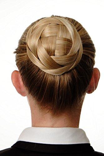 WIG ME UP - Haarknoten Dutt Haarteil aufwendig geflochten Brautschmuck Tracht Steck-Kamm Haarnadel Blond Goldblond-Platinblond-Mix Q399D-24BH613