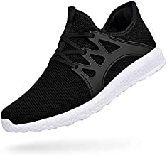 ZOCAVIA Mens Running Tennis Work Shoes Slip On Resistant Sneakers Lightweight Breathable Athletic Fashion Zapatos Gym Sport Non Slip Casual Walking Shoes for Men Black White 12.5