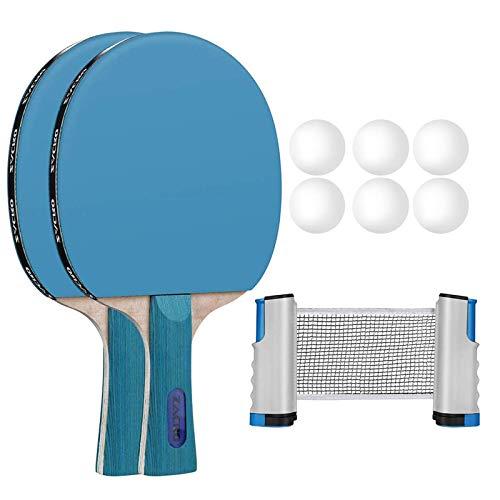 Zacro Juego de Tenis de Mesa 10 en 1, Sets de Ping Pong con 2 Palas de Ping Pong + 6 Pelotas + 1 Red Retráctil 170cm + 1 Bolsa de Malla,Material de Álamo,para el Juego Interior al Aire Libre y Regalo