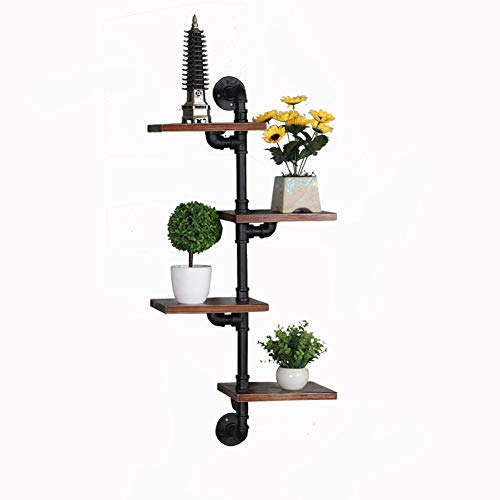 Industrial Style Wall Mount Shelf, Wall Opknoping ijzeren pijp Art Planken, Wall Shelf for Huis Decory, 4-Tiers Rustic Bookshelf for de woonkamer 409