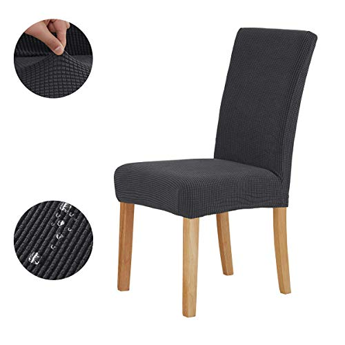 KELUINA Fundas para sillas de Comedor elásticas Spandex,Silla Jacquard Funda Protectora Corta Lavable extraíble para el Hotel y la Boda en el Bar de la Cocina (Gris,Medium(6 Pack))