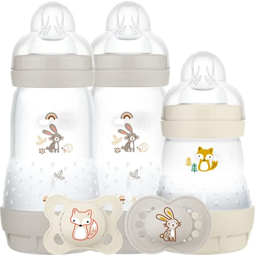 MAM Easy Start Colours of Nature Starter Self Sterilising Anti Colic Starter Set (Woodland), Non-Shiny Matt Finish Newborn Bottle Set and Soother, Newborn Essentials