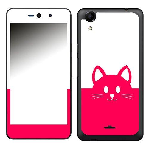 Disagu SF-106581_1018 Design Folie für Wiko Rainbow Up - Motiv Kawaii Katzengesicht pink