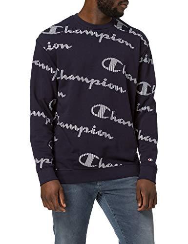 Champion Seasonal AC Logo Allover Crewneck Sweatshirt Sudadera, Azul Marino, M para Hombre
