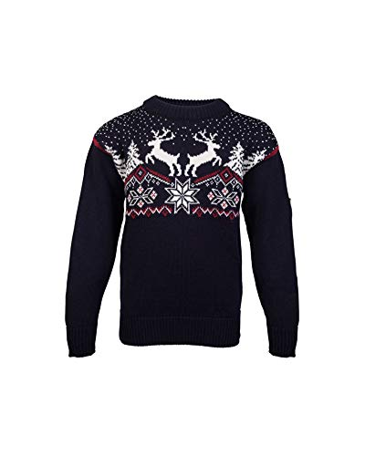 Dale of Norway Dale Christmas Kids, Maglione Bambino, Blu Navy/Rosa Rossa/Bianco Sporco, 6 Year
