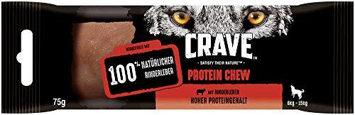 Crave Hundesnacks Protein Chew für mittelgroße Hunde (6kg-15kg) mit 100% natürlicher Rinderleber & hohem Proteingehalt, 15 Stück (15 x 75 g)