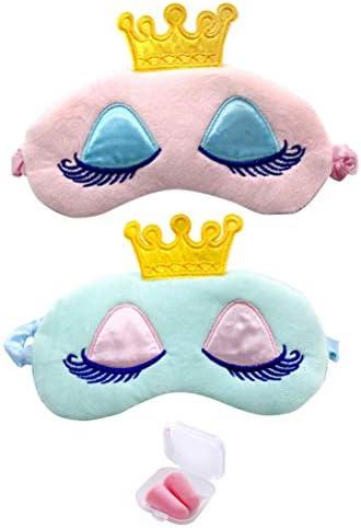 Booluee 2 Pcs Soft Plush Sleeping Mask Sleep Eye Mask Cartoon Princess Crown Sleep Mask Blindfold product image