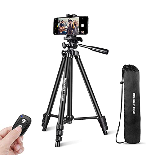 UBeesize Phone Tripod, 51' Adjustable Travel Video Tripod Stand with Cell Phone Mount Holder & Smartphone Bluetooth Remote