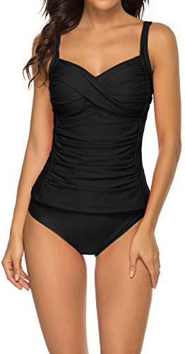Achruor Tankini Damen Sport Zweiteilig Badeanzug Bauchweg Tankinitop mit Bikinihose Tankinioberteil Bademode Scwimmanzug (Black L)