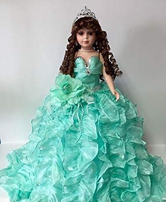 """Jmisa 24"""" Umbrella Porcelain Dolls Quince Anos Mint Green"""