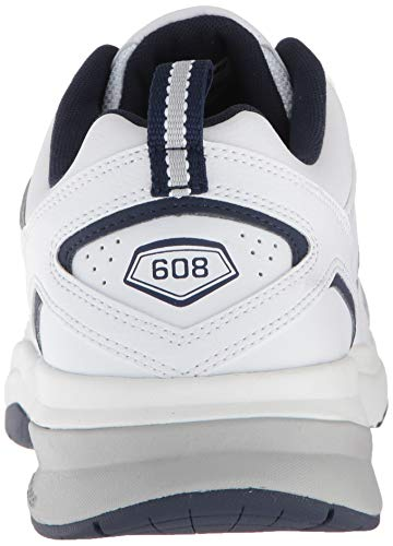New Balance mens 608 V5 Casual Comfort Cross Trainer, White/Navy, 10.5 Wide US Mississippi
