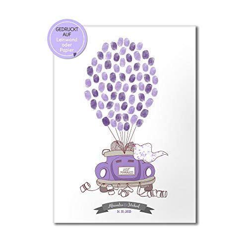 Hochzeitsauto Cabrio Wedding-Tree Leinwand zur Hochzeit, Fingerabdrücke Luftballone, Gästebuch