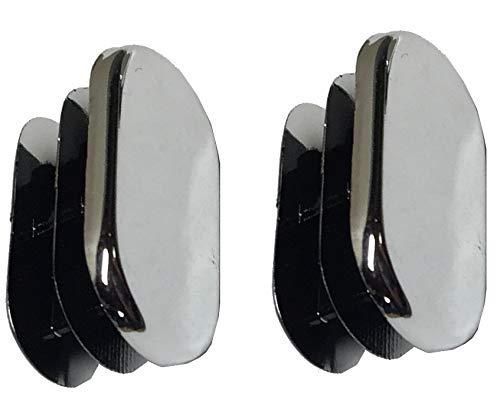 Desunia Oval Closet Rod End Caps - 15mm x 30mm - Polished Chrome - Set of 2