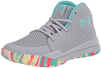 Under Armour Unisex-Youth Pre School Jet 2019 Basketball Shoe, Mod Gray (102)/Radial Turquoise, 4