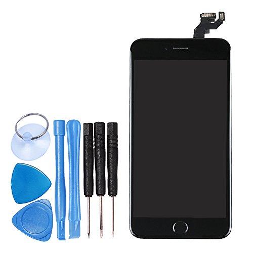 LL TRADER Per iPhone 6s Plus (5,5 Pollici) Nero LCD Display Touch Screen Assemblaggio del Digitalizzatore Sostituzione con Piccole Parti (Pulsante Home,Telecamera,Stanghetta,Sensor Flex)+ Utensili