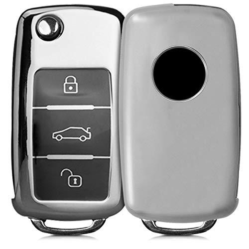 kwmobile Funda para Mando Compatible con VW Skoda Seat Llave de Coche de 3 Botones - Funda TPU Llave