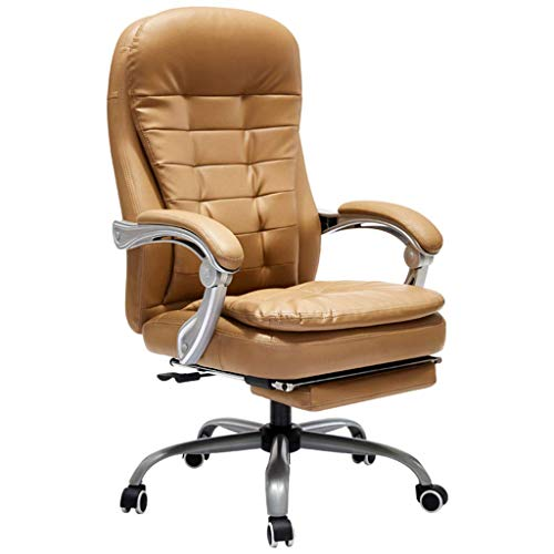 PLEASUR Chairs Sofas Home computer chair Leather office chair Leather chair Study room back seat Reclining lift armchair (Color : Brass, Size : 70cm*70cm*116cm)