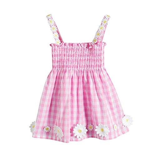 Logobeing Ropa Bebe Niña Verano Recien Nacido Vestido Mini Estampado Sin Mangas Vestido de Tirantes Flores (24Mes, Rosado)