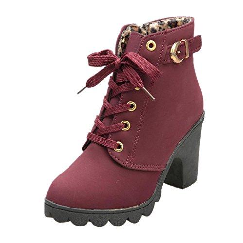 SHOBDW - Stivali da donna, alla moda, con tacco alto, con chiusura alla caviglia, con fibbia alla caviglia, Giallo (Rosso), 37 EU