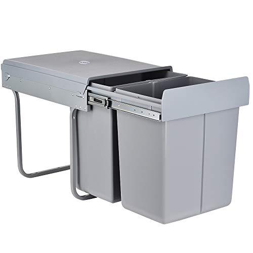 LENTIA - Cubo de basura extraíble para cocina, perfecto para armario de cocina, para reciclaje, 49 x 35 x 43,5 cm, 40 litros
