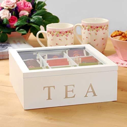 Teebox aus Holz mit 9 Fächern - Weiß oder Schwarz