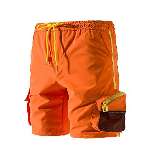 UJUNAOR - Pantalon de Sport - Décontracté - Uni - Homme - Orange - XXX-Large