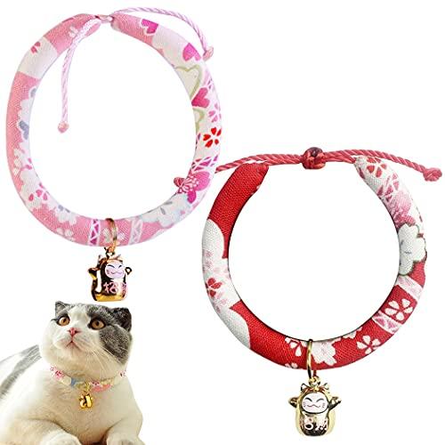 ZOYLINK Collares para Mascotas Tela Ajustable 2 Uds Flor Impresa Lino Decorativo Hecho a Mano Collares De Gato Ligeros Collares De Gatito Cobre