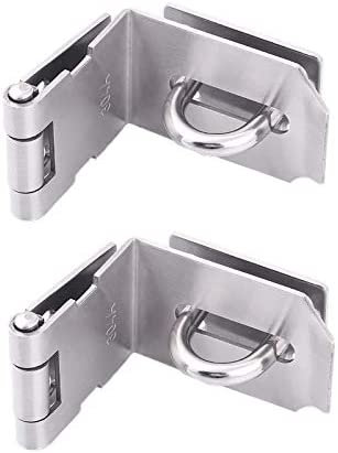 Pack of 2 Door Hasp Latch 90 Degree Stainless Steel Safety Angle Locking Latch for Push Sliding product image