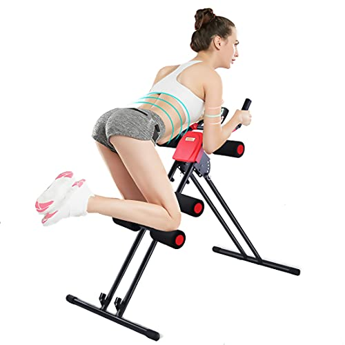Nisorpa Fitness Ab Workout Machine, Adjustable AB Abdominal Exercise Machine with LCD Counter, Home Gym Core Fitness Abdominal Trainer Crunch Exercise Bench Machine for Waist Leg Side Shaper Fitness