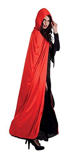Aptafêtes - CSH99300/BO - Cape Luxe avec Capuche Réversible - Taille 170 cm - Noir/Rouge