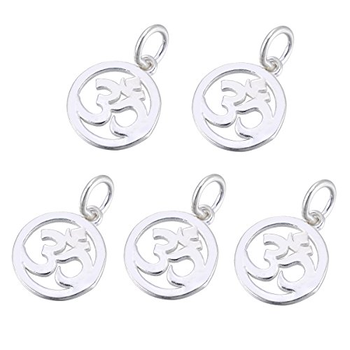 HOUSWEETY 5Pcs Sterling Silver Hollow ohm Round Charms Fit Bracelets Necklaces - Jewellery Making Findings DIY Craft