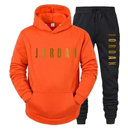 MMADD Ropa deportiva de otoño e invierno dos conjuntos de sudadera con capucha y pantalones traje de invierno ropa deportiva con capucha, naranja, S