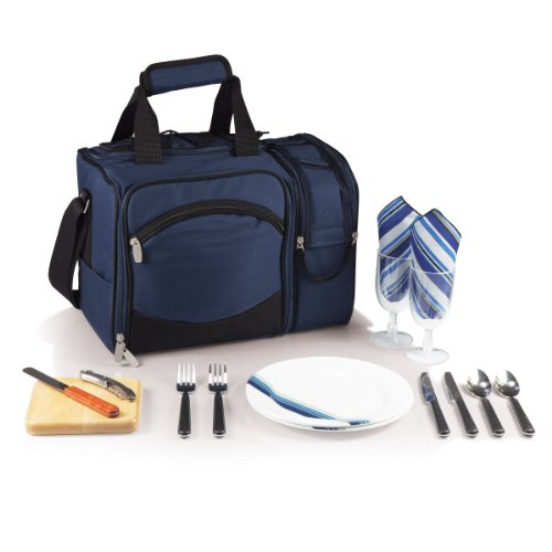 Picnic Time Malibu Insulated Cooler Picnic Tote with Service for 2, Navy Blue
