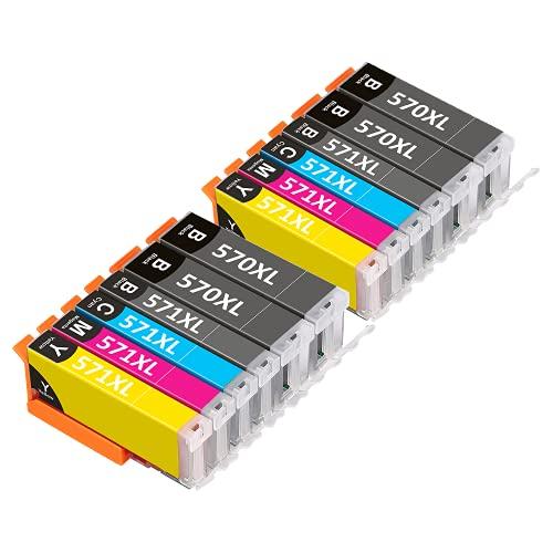 570XL 571XL - Cartuccia di ricambio per Canon PGI-570 CLI-571 XL per PIXMA TS5050 MG5750 TS6051 MG6850 TS6050 MG5700 MG5751 MG5752 MG6800 MG6851 MG6851 52 (11 Confezione da 2)