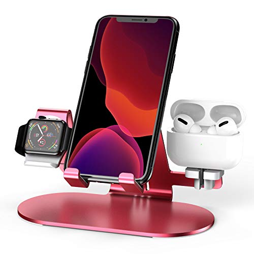 3 in 1 Aluminum Charging Station for Apple Watch Charger Stand Dock for iWatch Series 4/3/2/1,iPad,AirPods and iPhone Xs/X Max/XR/X/8/8Plus/7/7 Plus /6S /6S Plus?Red?