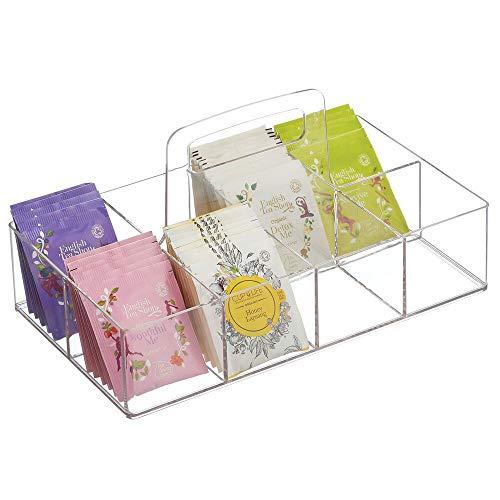mDesign Caja de té portátil para el Armario o la encimera – Organizador de infusiones con 8 Compartimentos de plástico – Prácticas Cajas para Guardar té, azúcar, edulcorantes y café – Transparente
