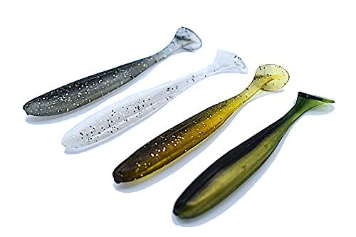 Trifyd - Cebos flexibles de 5 cm para trucha, tobillo, perca, carnívoro, paquete de 20 señuelos de pesca + 5 cabezas plomadas