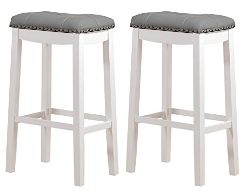 "Angel Line Cambridge Padded Saddle Stool, White with Gray Cushion, 29"" H, Set of 2"
