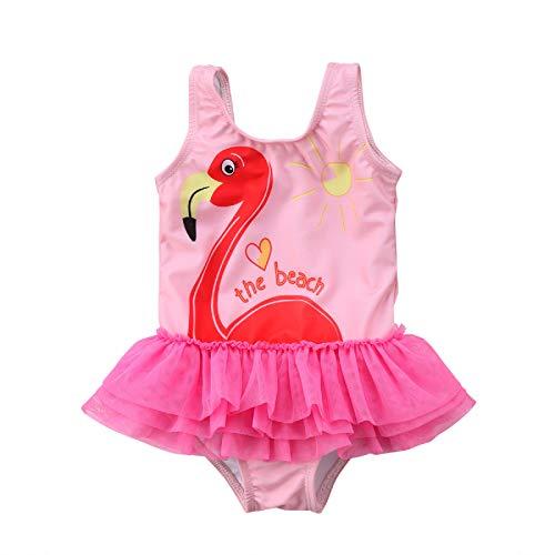 MAHUAOYIXI Costume da Bagno Intero per Bambina con Motivo di Fenicottero Swimwear Rosa Gonna Tutu Tulle Bambine Spiaggia Piscina Vacanza (Rosa, 1-2 Anni)