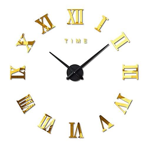 BBZZ Reloj de pared grande con pegatinas 3D, reloj de pared, números romanos modernos, para salón, hogar, oficina, decoración, color plateado