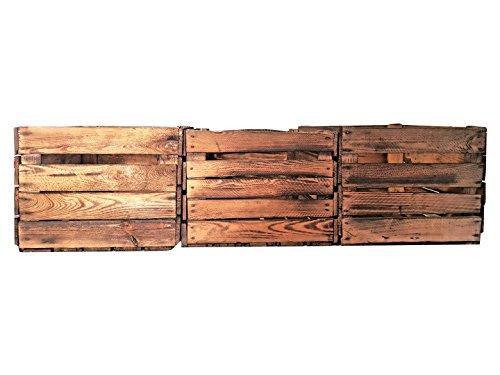 Geflammte Holzkisten im Set-Angebot: Originale, Vintage Obstkisten Apfelkisten aus dem Alten Land zum Möbelbau oder Dekoration mit den Maßen 50 x 40 x 30cm (3er Set) - 2